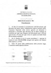 Emendamento per abbattimento capi bestiame